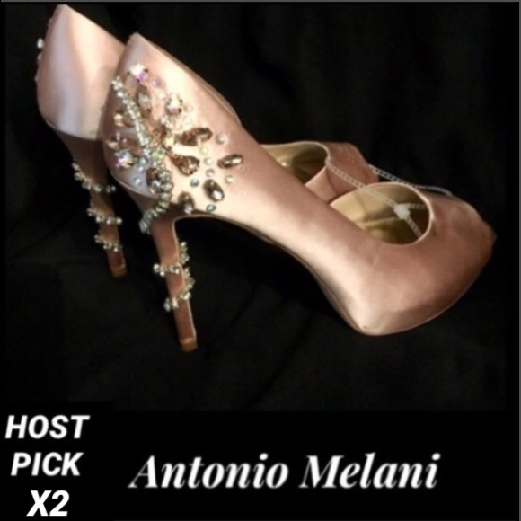 9cdd7cc526d ANTONIO MELANI•Carean Satin Jeweled Peep-Toe